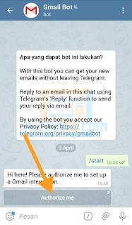Pilih Authorize me untuk menggunakan akun Gmail