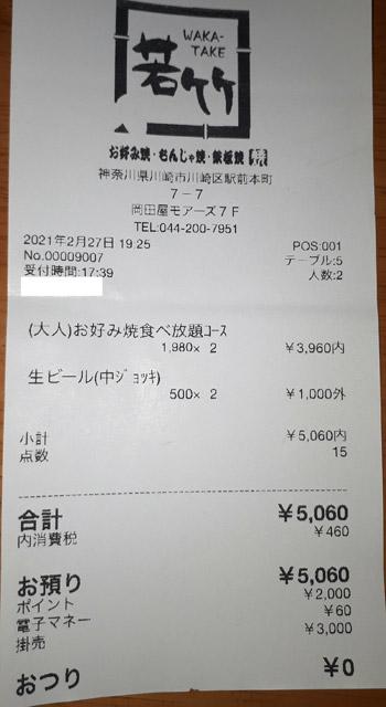 若竹 川崎モアーズ店 2021/2/27 飲食のレシート