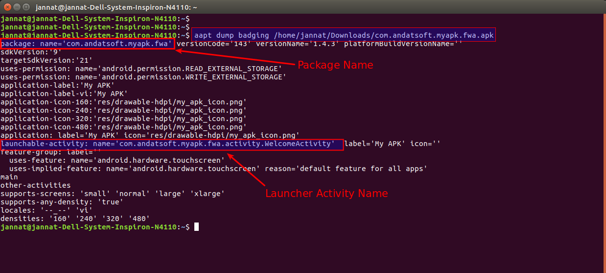 Hiro Mia: How to find Package Name And Launcher Activity Name from