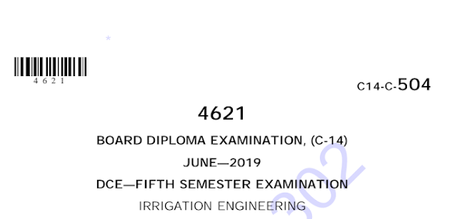 Diploma Irrigation Engineering Previous Question Paper c14 Civil June-2019