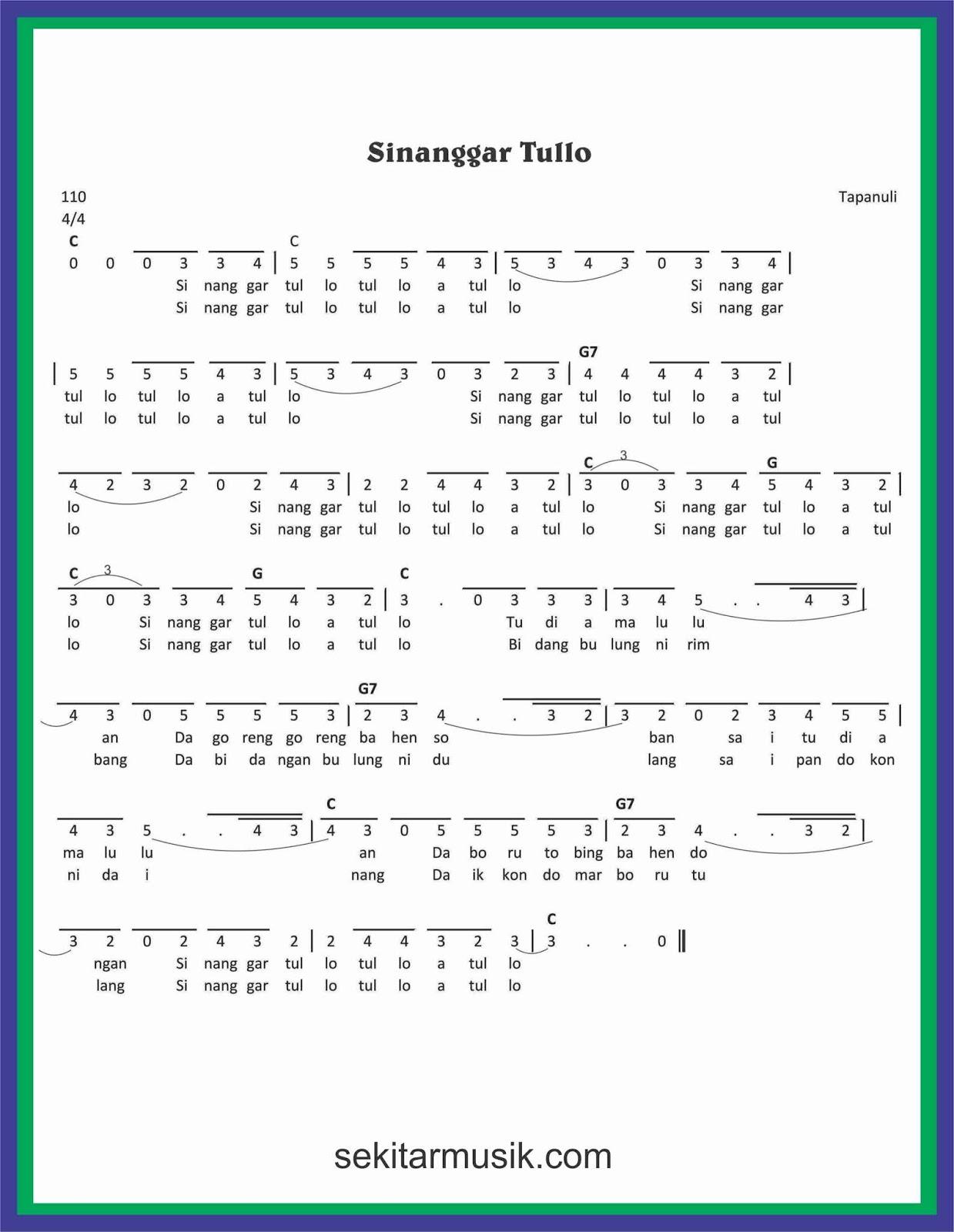 Lirik Sinanggar Tulo : lirik, sinanggar, Angka, Sinanggar, Tullo, SEKITAR, MUSIK