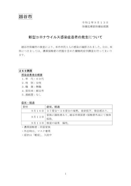 新型コロナウイルス感染症患者の発生について(9月13日発表)