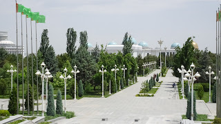 Ashgabat has so many people but no one lives in the beautiful white marble buildings