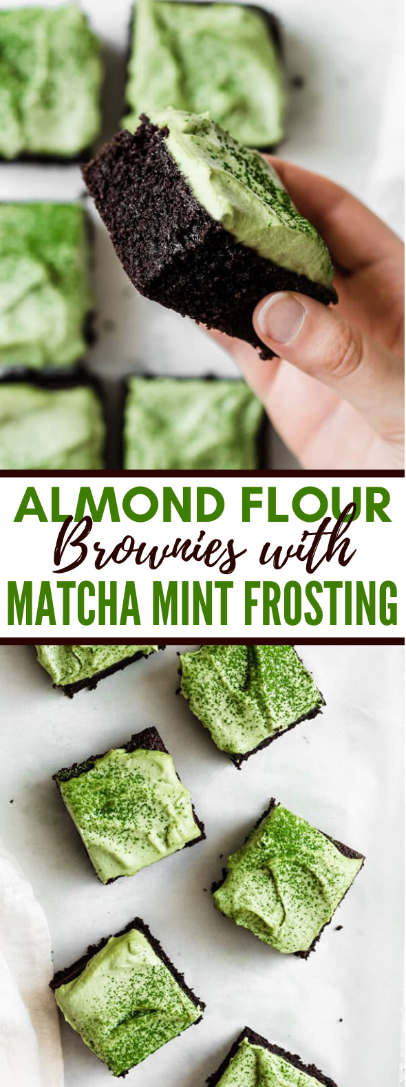 ALMOND FLOUR BROWNIES WITH MATCHA MINT FROSTING #desserts #glutenfree