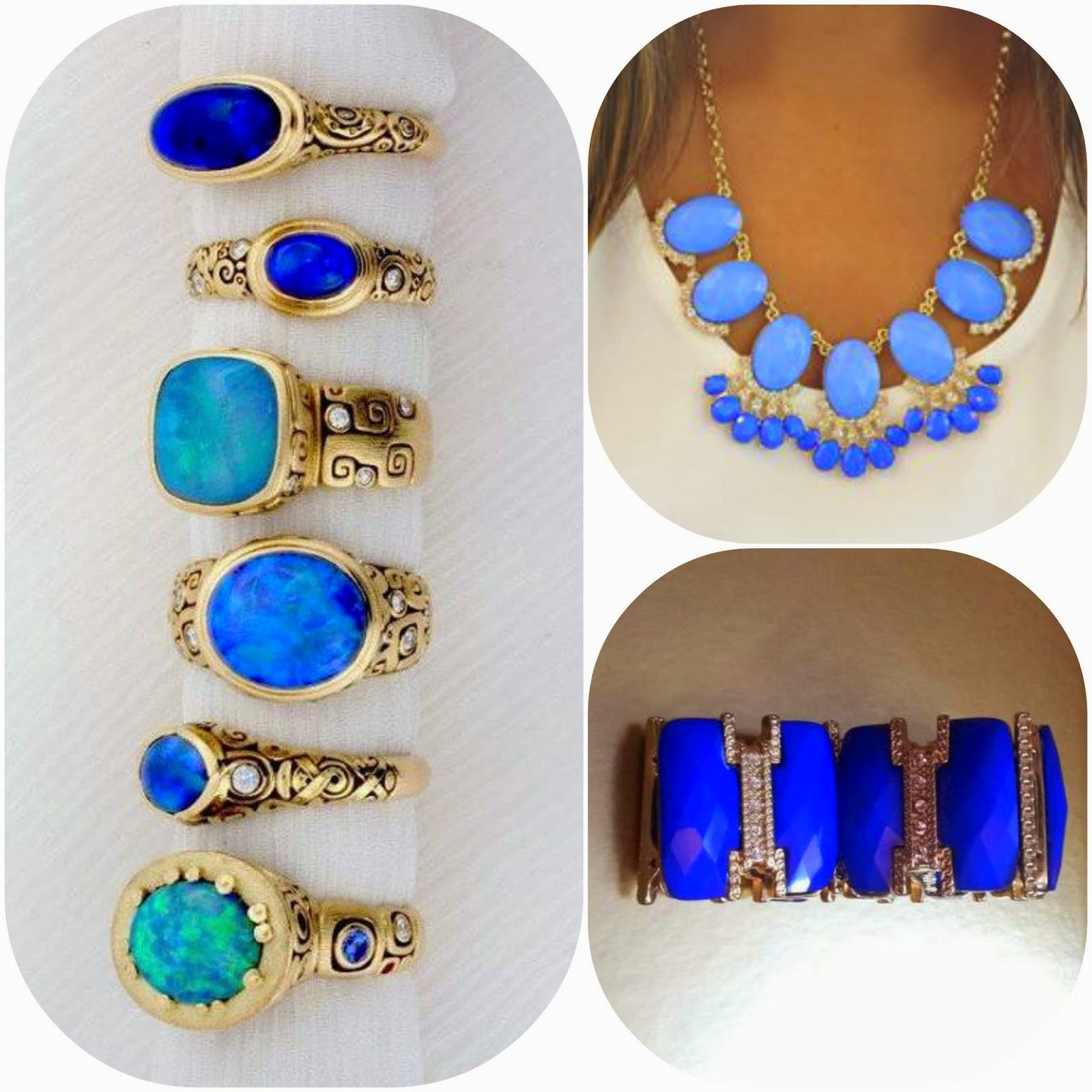 How to wear blue jewellery, how to style blue statement jewellery, blue fashion style