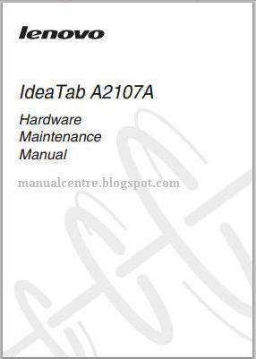 Lenovo IdeaTab A2107A Manual Cover