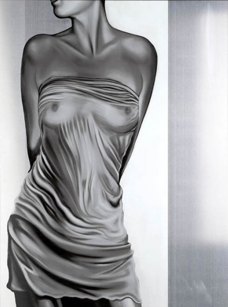 Drew Darcy 1976 | Moda pintor figurativo británico | Lady in Red