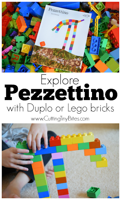 Let your kids build characters from the Leo Lionni book Pezzettino out of Duplo or Lego bricks with this simple activity. Great spatial, visual discrimination, and fine motor learning for preschoolers or kindergarten children.