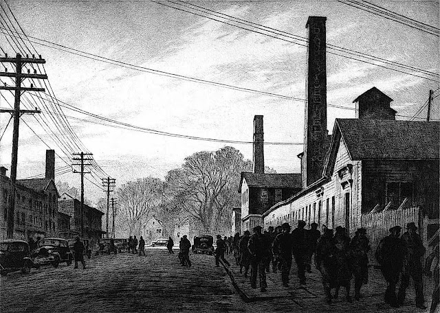 a Martin Lewis print 1937, men walking at a factory during a shift change