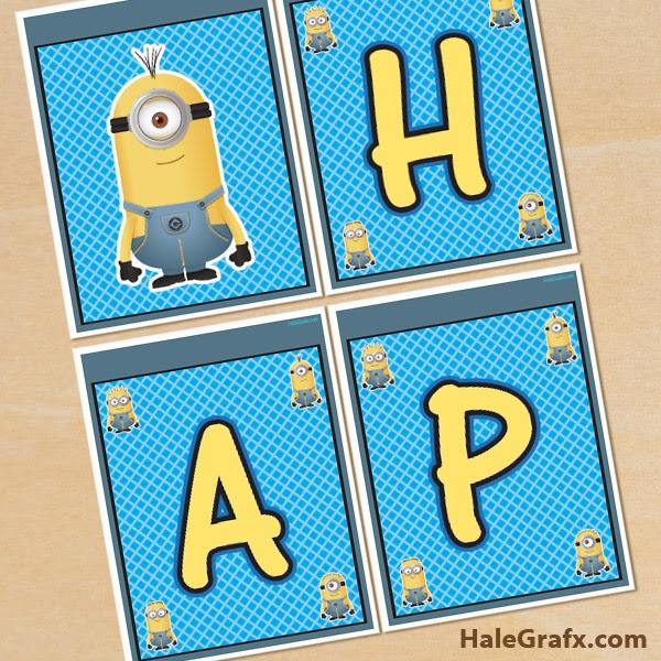 Minions Free Printable Happy Birthday Banners