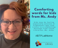 Facebook post on Youth Services librarian's comforting message for kids during COVID-19 with a picture of Ms. Andy