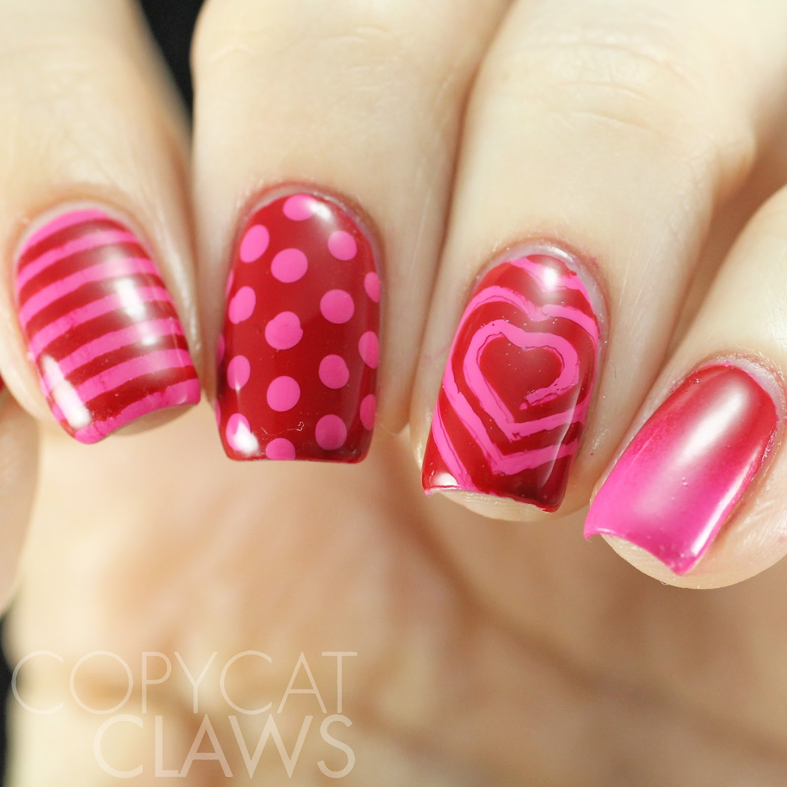 Copycat Claws Pink And Red Skittle Nail Art