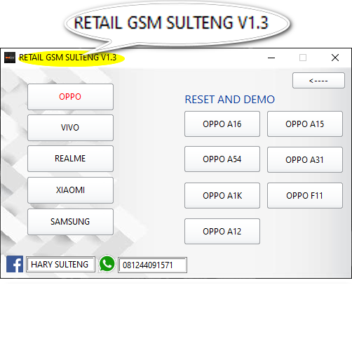 Free tool RETAIL GSM SULTENG TOOL v1.3 Latest Version