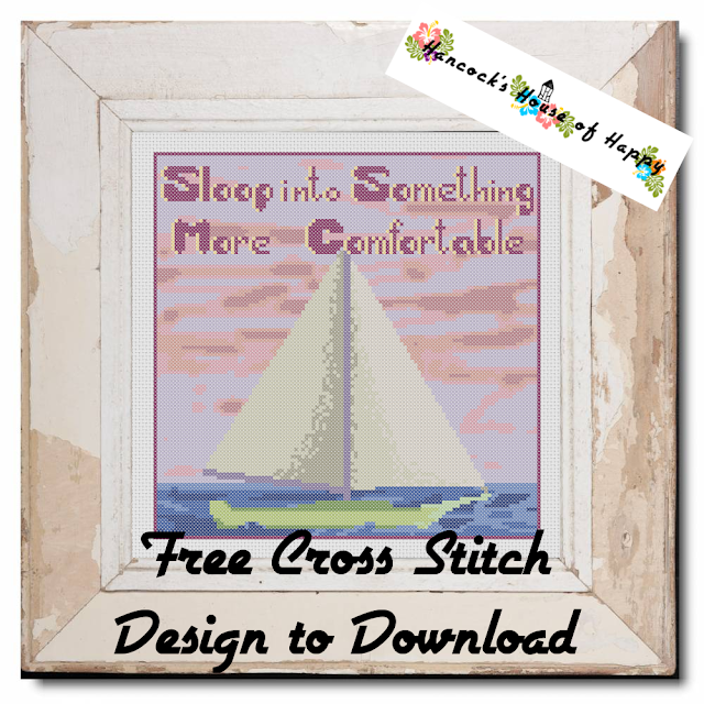 Nautical Daze! Sloop into Something More Comfortable Nautical Sailing Free Cross Stitch Design to Download