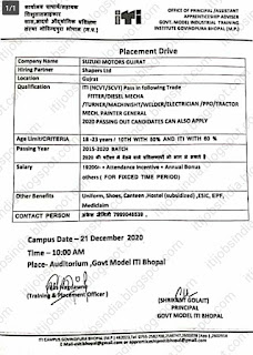 ITI Job Campus Placemen At Govt Model ITI Bhopal, Madhya Pradesh  For Company Suzuki Motor Gujarat Pvt Ltd