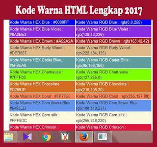 Kode Warna HTML Lengkap 2017