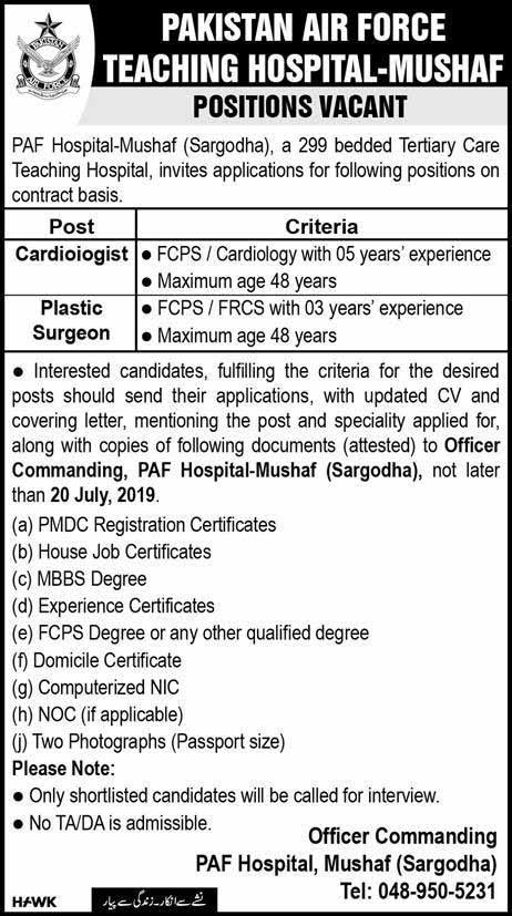 Pakistan Air Force Teaching Hospital Jobs in Sargodha 14 July 2019