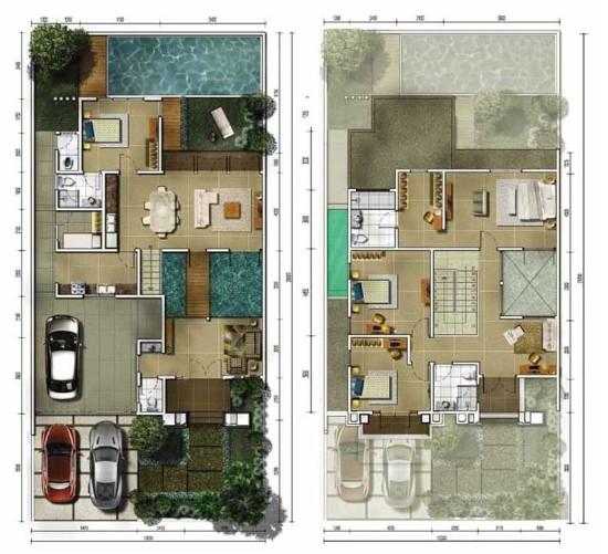 Denah rumah minimalis ukuran 12x25 meter 5 kamar tidur 2 lantai