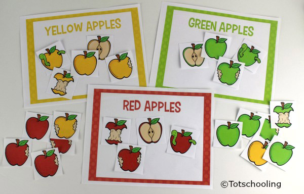 To Use These Activity Pages Have Your Child Identify The Color Designated On Each Of Three Mats Then Sort Apple Cards Onto