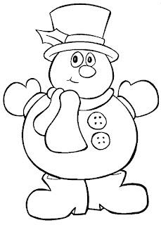 דף צביעה בובת איש שלג עם כפתורים