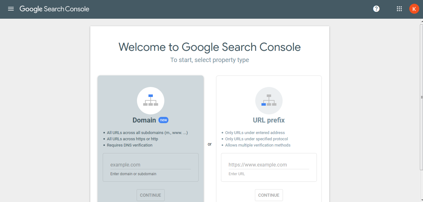 Home page of Google Search Console - Thanalysis