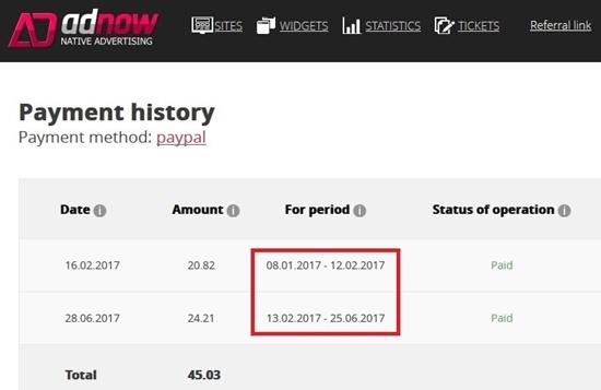 Pembayaran dari Adnow.com