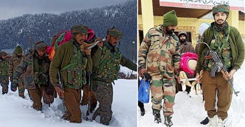 J&K : 3 फुट बर्फ़ के बीच 2 किमी पैदल चलकर सेना के जवानों ने गर्भवती महिला को पहुंचाया अस्पताल