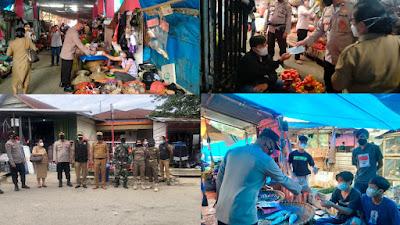 Penerapan PPKM, Forkopimcam Toraja Utara Gelar Oprasi Yustusi di Pasar Pagi