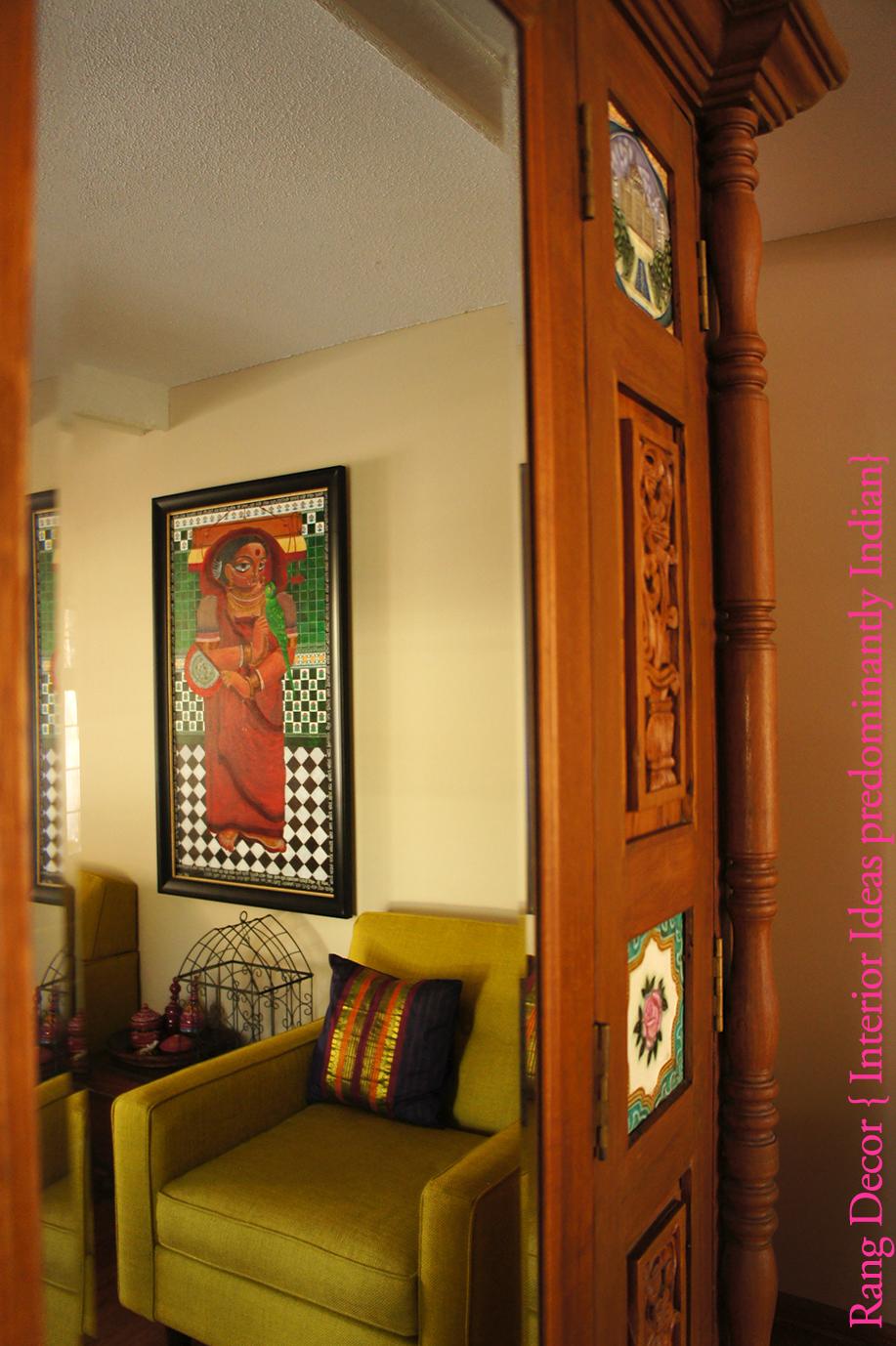 rang decor interior ideas predominantly indian she came home on mahalaya. Black Bedroom Furniture Sets. Home Design Ideas