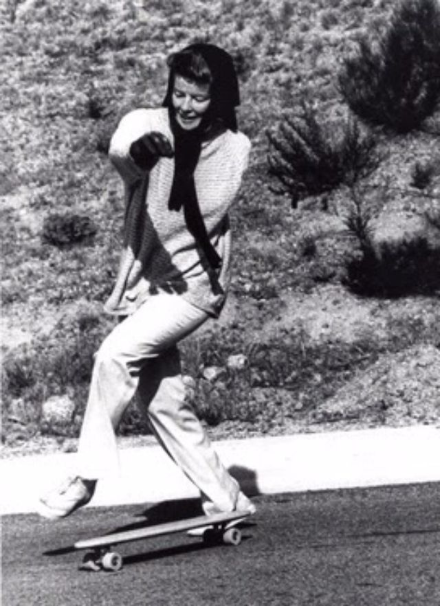 Katharine Hepburn Skateboarding Ca 1960s Vintage Everyday