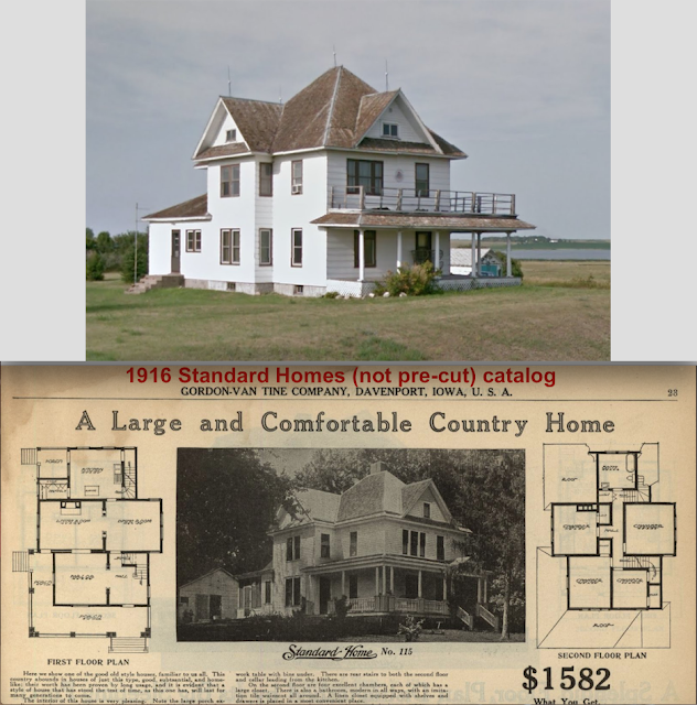 comparison of Gordon-Van Tine Standard cut Home No. 115, at 11675 Highway 11, Oakes, ND and from the 1916 Standard Homes catalog