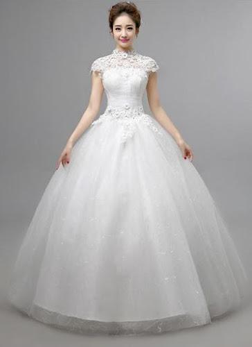 gaun pengantin tampak depan