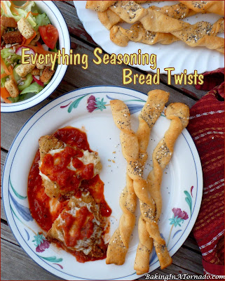 Everything Seasoning Bread Twists serve these crunchy flavorful twists with a salad, as a complement to any meal or just as a snack. | Recipe developed by www.BakingInATornado.com | #recipe #bread