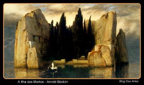 A Ilha dos Mortos, obra do pintor suíço Arnold Böcklin. #PraCegoVer
