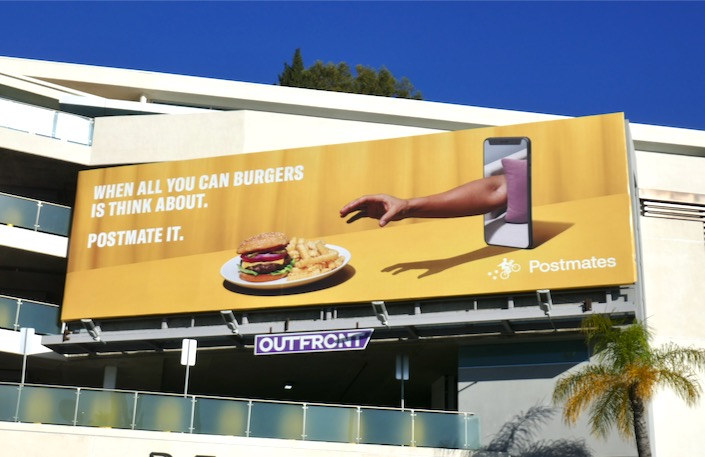 When all you can burgers is think about Postmate it billboard