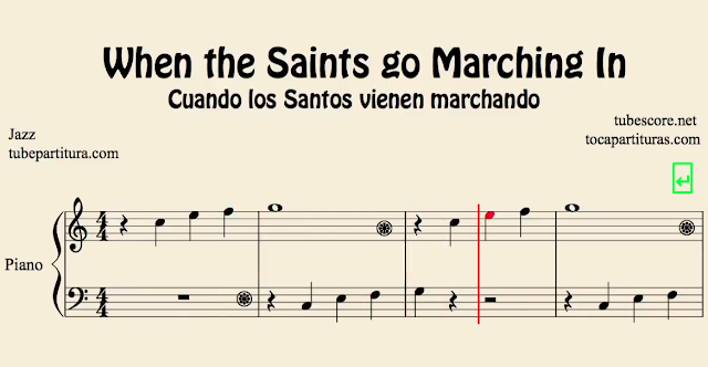 10 Partituras Populares Tradicionales 3º Partitura de Oh When the Saint Cuando los Santos van marchando Sheet Music