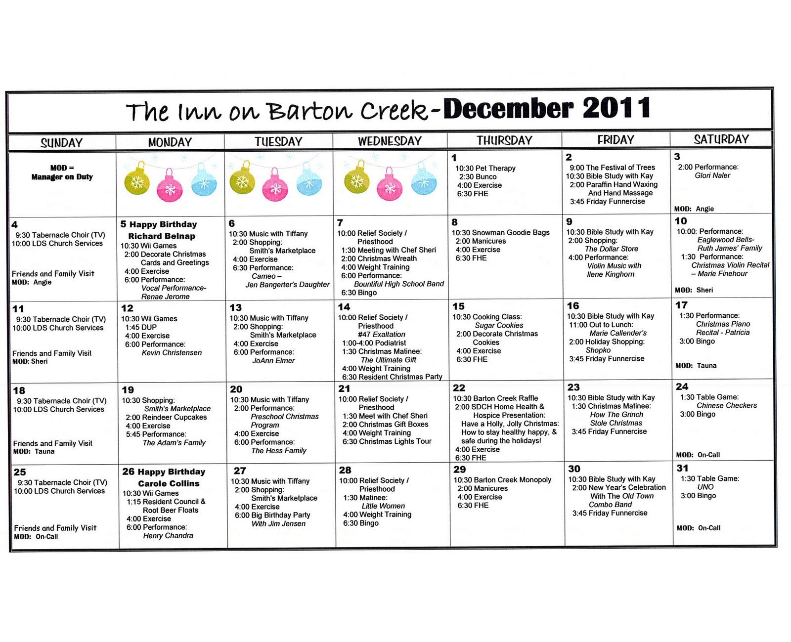 Barton Creek Assisted Living December Activities