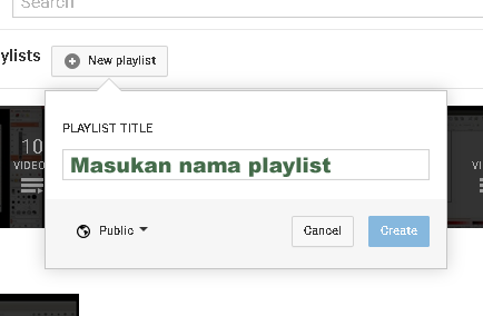 Membuat Playlist baru di youtube