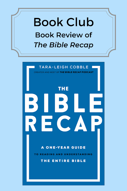 Text: Book Club: Book Review of The Bible Recap; cover of The Bible Recap