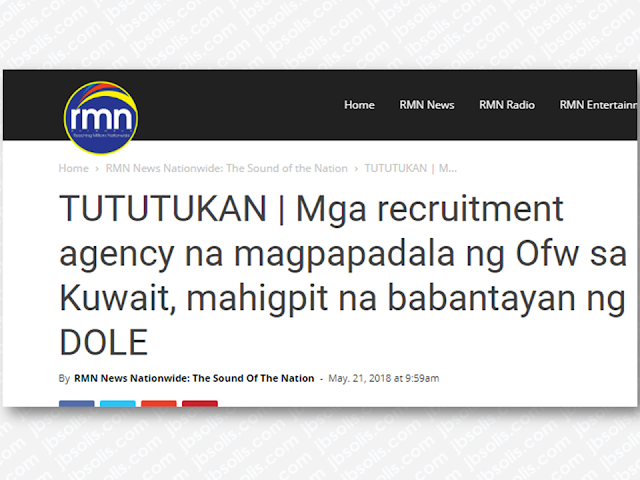 "As the total deployment ban in Kuwait was lifted, the recruitment agencies deploying overseas Filipino workers (OFWs) in Kuwait will be under strict monitoring by the Department of Labor and Employment (DOLE).  Labor Usec. Jacinto Paras said that is going to have a meeting with the Philippine Overseas Employment Administration (POEA) and Overseas Workers Welfare Administration (OWWA) to draft new guidelines in sending OFWs to the Gulf State. It also includes reviewing the licenses of the recruitment agencies.  The recruitment agencies will also be required to provide training especially for Household Service Workers (HSW) before their deployment at no cost to the HSWs.  Advertisement        Sponsored Links       According to DOLE data, there are about 5,000 OFW  who are now ready for their deployment in Kuwait while about 15, 000 more are on process.   Senate Committee on Labor, Employment, and Human Resources Development is asking for Department of Labor and Employment (DOLE) and the Philippine Overseas Employment Administration (POEA)  to submit a report regarding the required training that the OFWs must undergo prior to their deployment abroad.  Committee chairman Senator Joel Villanueva, wanted to check if the requirement for OFWs to undergo training before the OFWs are finally allowed for deployment is strictly being followed. Villanueva also cited that it is also important to know the difficulties and problems they found out while the soon to be deployed HSWs are still undergoing the training.  Malcañang added that HSWs would undergo ""mandatory training"" that would be shouldered by their recruiters.  The mandatory training, he said, would be in addition to training HSWs already at the Technical Education and Skills Development Authority's (TESDA).  ""We would want to know whether this has been complied, how many recruitment agencies are complying, how many HSWs have been certified prior to deployment, and what are the problems encountered,"" Villanueva said.  The Philippine government imposed a ban on the deployment of overseas Filipino workers (OFWs) to Kuwait, amidst reports of violence and abuse of employers in that Gulf state.  ""We urge the DOLE and POEA to conscientiously pursue the upgrading of household service work as a profession with unique skills set and not slaves consistent with ILO Convention 189 on Domestic Work, which the country actively campaigned for,"" Villanueva said. ""Our HSWs should already be armed with NC II certificates as professional service workers, and recruitment agencies should be required to deploy only certified HSWs.""      READ MORE: OFW Help Desks From TESDA Now Available at International Airports  Signs That You And Your Partner Have An Unhealthy Communication    It's More Deadly In The Philippines? Tourism Ad In New York, Vandalized    Earn While Helping Your Friends Get Their Loan      List of Philippine Embassies And Consulates Around The World    Deployment Ban In Kuwait To Be Lifted Only If OFWs Are 100% Protected —Cayetano    Why OFWs From Kuwait Afraid Of Coming Home?   How to Avail Auto, Salary And Home Loan From Union Bank"