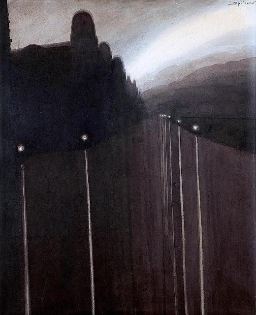 Léon Spilliaert 1908 painting, a river at night
