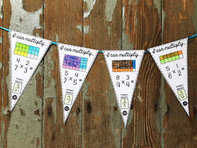 Math classroom decoration ideas - here is a multiplying fractions math pennant activity. Students love seeing their work displayed on their classroom math bulletin board. And it serves as a constant reminder that they CAN do it!