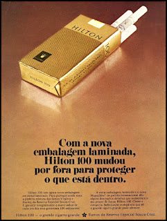 propaganda cigarros Hilton - 1972, cigarros hilton 100 mm 1972, souza cruz anos 70, cigarros década de 70, Oswaldo Hernandez,