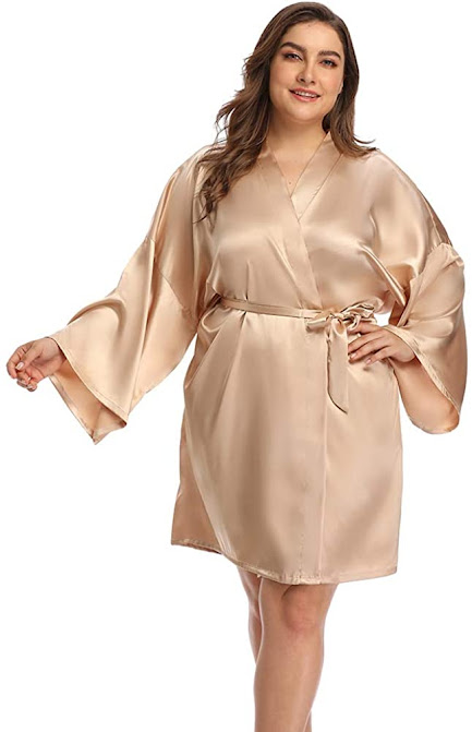 Gold Plus Size Satin Robes For Women