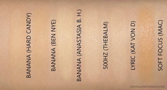 Hard Candy Baking Loose Powder Banana Yellow Swatches Dupes ABH Ben Nye