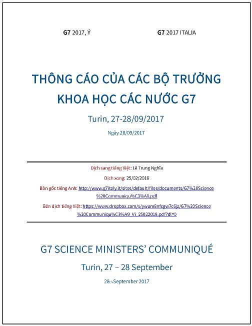 'Thông cáo của các Bộ trưởng Khoa học các nước G7' - bản dịch sang tiếng Việt