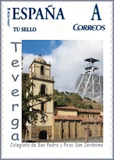 Sello personalizado de GRUCOMI en Teverga: Pozo San Jerónimo y Colegiata de San Pedro