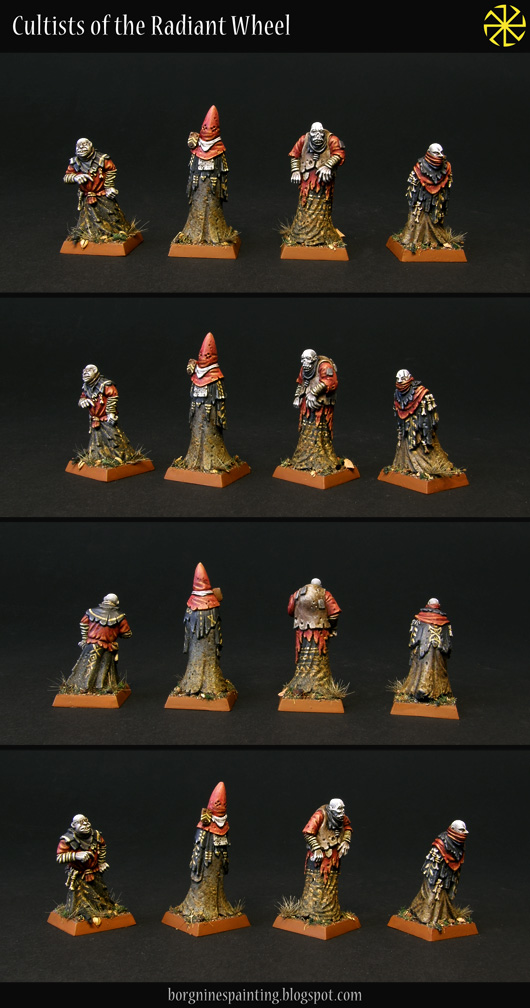 4 tabletop cultists miniatures from Black Crab Miniatures, seen from several angles - they painted with red, black and brown robes, with lots of dirt and weathering on them.
