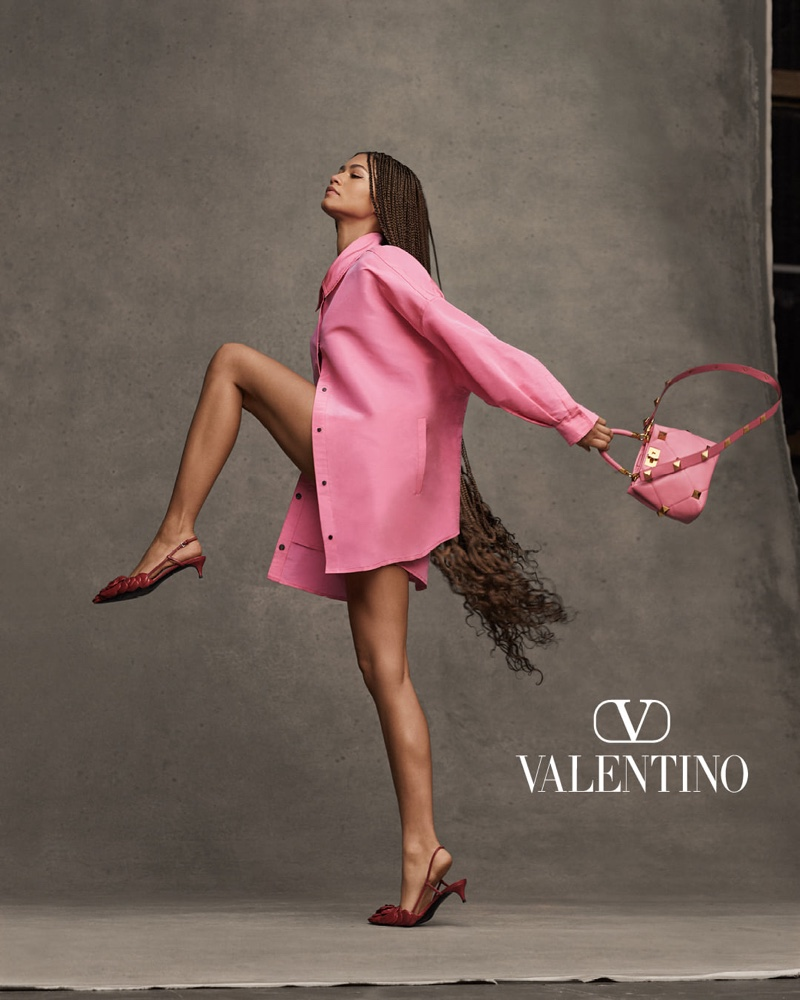 Modeling pink, Zendaya appears in Valentino Collezione Milano campaign.