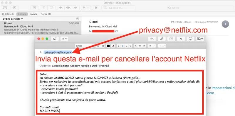 indirizzo email netflix per cancellare account e dati personali password carta di crediti paypal